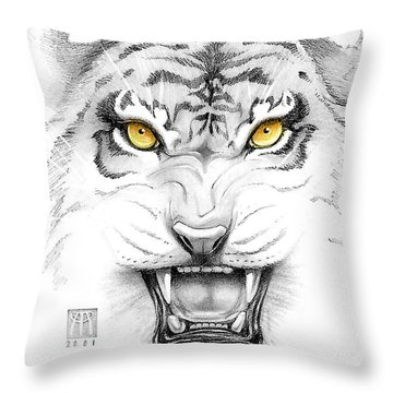 Golden Tiger Eyes Throw Pillow by Melissa A Benson