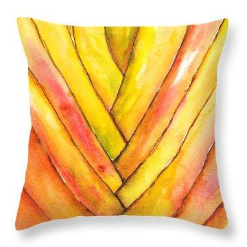 Golden Travelers Palm Trunk Throw Pillow
