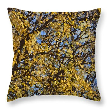 Golden Tree 3 Throw Pillow by Carol Lynch