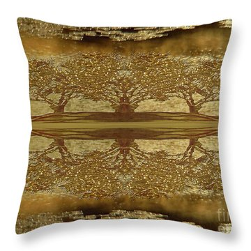 Golden Trees Reflection Throw Pillow