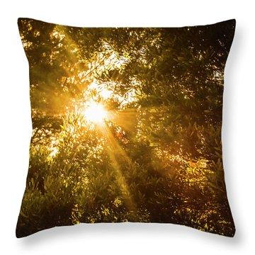 Golden Treetops Throw Pillow