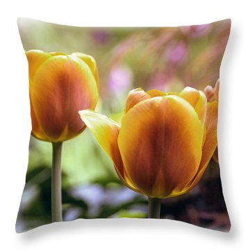Golden Tulips Throw Pillow by William Havle