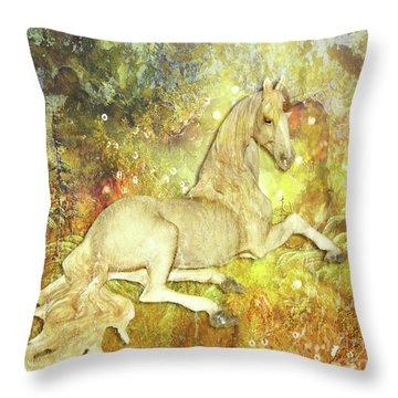 Golden Unicorn Dreams Throw Pillow