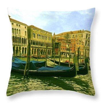 Throw Pillow featuring the photograph Golden Venice by Anne Kotan