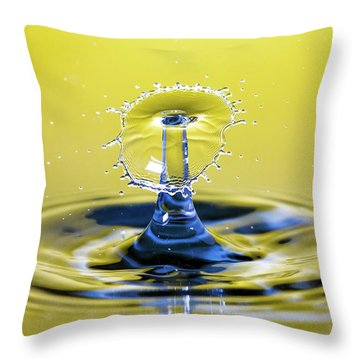 Golden Water Drop Umbrella Throw Pillow