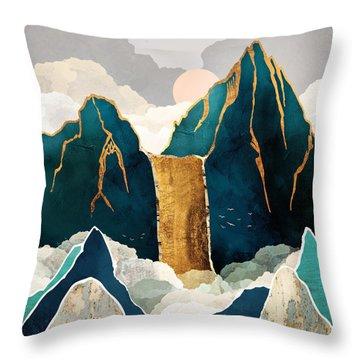 Golden Waterfall Throw Pillow