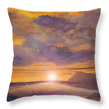 Throw Pillow featuring the painting Golden Wave by Holly Martinson