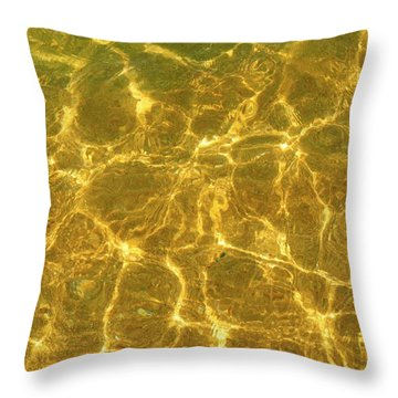 Golden Wave Throw Pillow