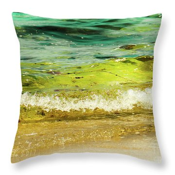 Golden Waves At Pacific Grove California Near Lover's Point Throw Pillow