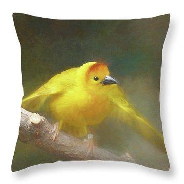 Golden Weaver - Digital Painting Throw Pillow