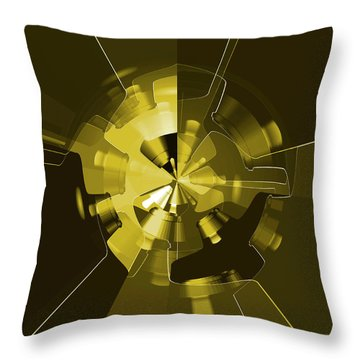 Golden Wheels Throw Pillow