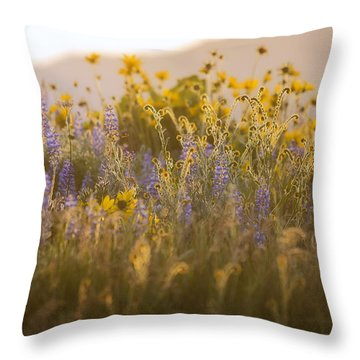 Golden Wildflowers Throw Pillow