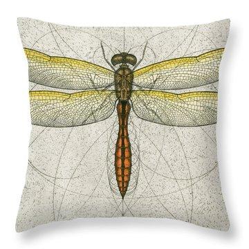 Golden Winged Skimmer Throw Pillow