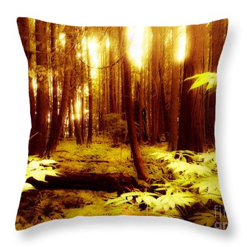 Golden Woods Throw Pillow by Kim Prowse