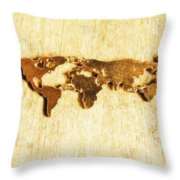 Golden World Continents Throw Pillow