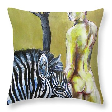 Golden Zebra High Noon Throw Pillow