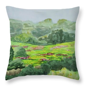 Goldenrod Field Throw Pillow by Bethany Lee