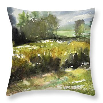 Goldenrod On The Lane Throw Pillow