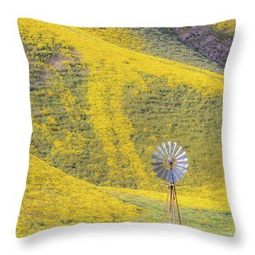 Goldfields And Windmill At Carrizo Plain  Throw Pillow