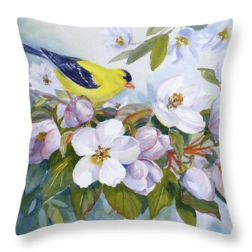 Goldfinch And Crabapple Blossoms Throw Pillow by Janet  Zeh