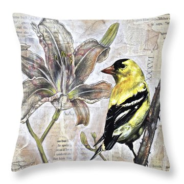 Goldfinch And Lily Throw Pillow by Sheri Howe