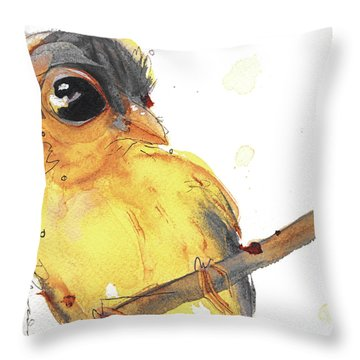 Throw Pillow featuring the painting Goldfinch by Dawn Derman