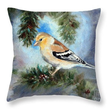 Throw Pillow featuring the painting Goldfinch In A Tree by Brenda Thour