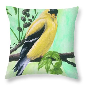 Throw Pillow featuring the pastel Goldfinch by Joseph Ogle