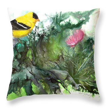 Throw Pillow featuring the painting Goldfinch by Sherry Shipley