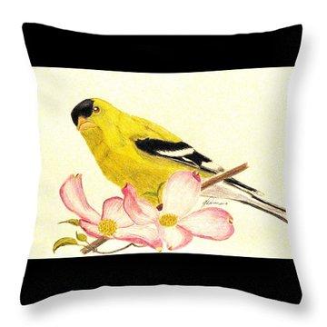 Goldfinch Spring Throw Pillow