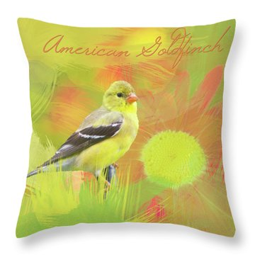 Throw Pillow featuring the photograph Goldfinch Watercolor Photo by Heidi Hermes