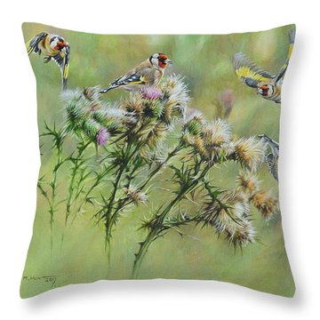 Goldfinches On Thistle Throw Pillow
