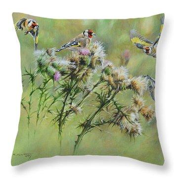 Goldfinches On Thistle Throw Pillow