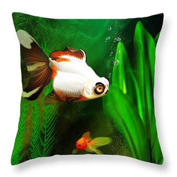 Goldfish Aquarium Throw Pillow