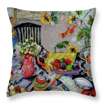Goldfish Rumble Throw Pillow by Sharon Furner