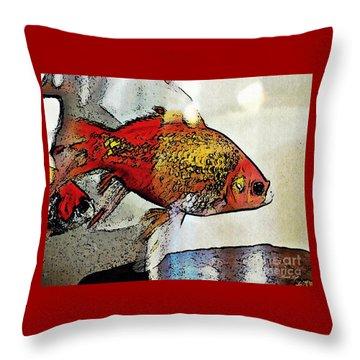 Goldfish Throw Pillow by Sarah Loft