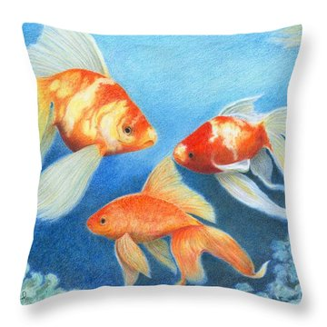 Goldfish Tank Throw Pillow