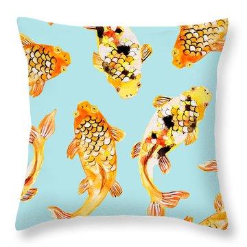 Goldfish Throw Pillow by Uma Gokhale