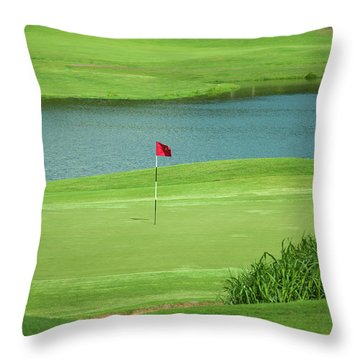 Golf Approaching The Green Throw Pillow by Chris Flees