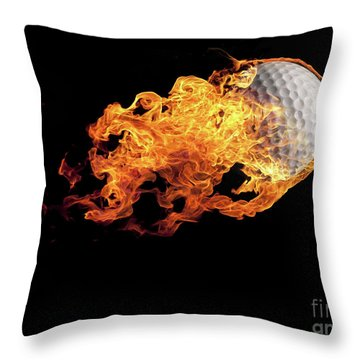Golf Ball With Flames On Black Throw Pillow