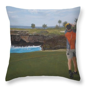 Golf Day Throw Pillow by Betty-Anne McDonald