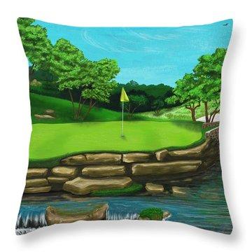 Golf Green Hole 16 Throw Pillow