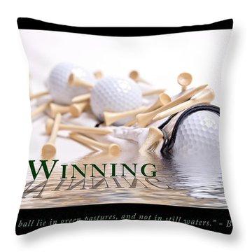 Golf Motivational Poster Throw Pillow