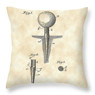 Golf Tee Patent 1899 - Vintage Throw Pillow by Stephen Younts