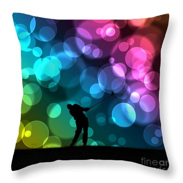 Golfer Driving Bokeh Graphic Throw Pillow