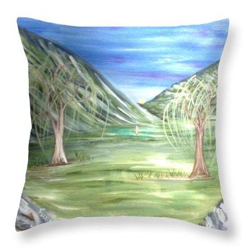 Golfing In Glacier Throw Pillow