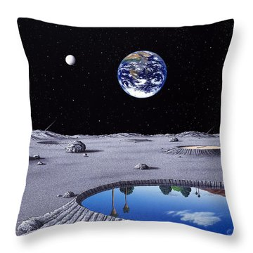 Golfing On The Moon Throw Pillow by Snake Jagger