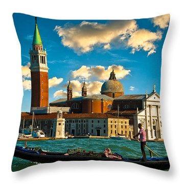 Gondola And San Giorgio Maggiore Throw Pillow by Harry Spitz