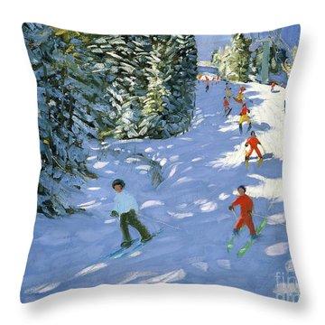 Gondola Austrian Alps Throw Pillow by Andrew macara