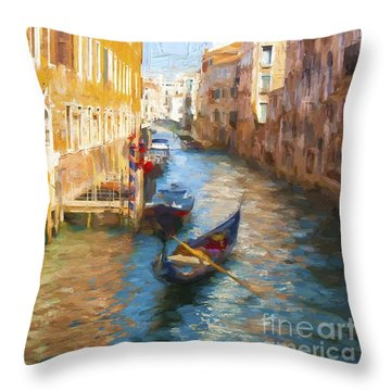 Gondola E Campanile Throw Pillow